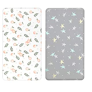 Designthology (U.S.) Baby Cotton Muslin Fitted Crib Sheet for Standard Crib and Toddler Mattresses for Boys and Girls, Floral Collection Orange & Gray Stars