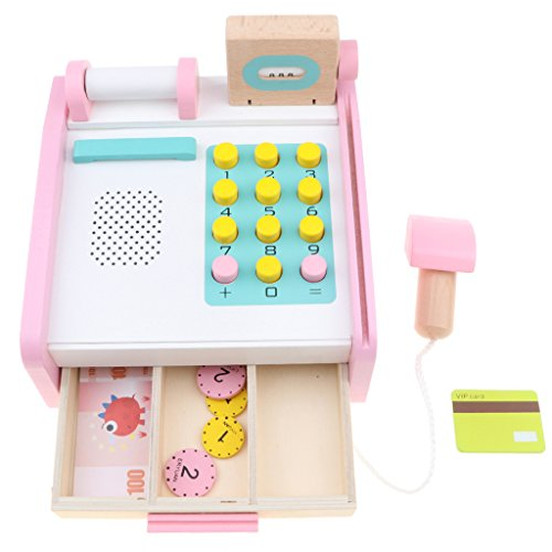 Fityle Kids Wooden Cash Register Playset with Assorted Accessories Pretend Play Toy for Boys Girls