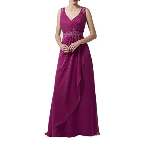 Marie Fuchsia Abendkleider Promkleider Chiffon Brautjungfernkleider Ausschnitt Braut Bodenlang Ballkleider La V 7wqEd76