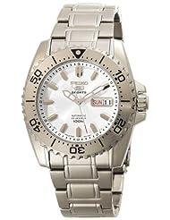 Seiko Men's SNZG35 Seiko 5 Automatic White Dial Stainless-Steel Bracelet Watch