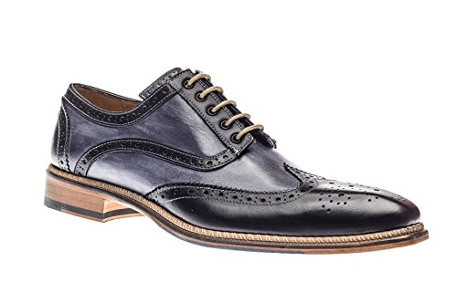 Jose Real Shoes Veloce Collection | Nero | Mens Oxford Black Genuine Real Italian Leather Dress Shoe | Size EU (Italian Leather Dress Shoes)