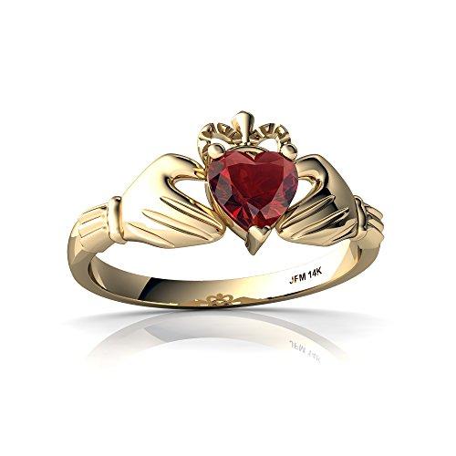 14kt Yellow Gold Garnet 5mm Heart Claddagh Ring - Size 9
