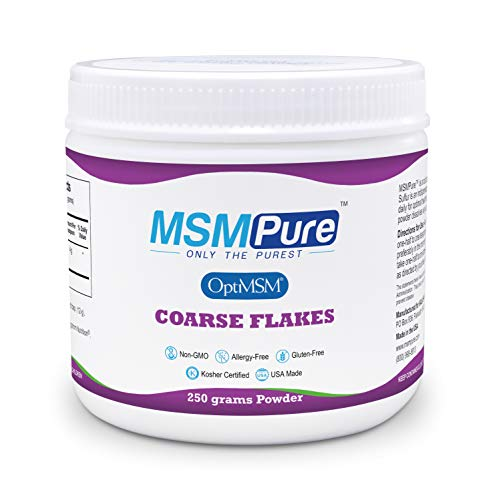 Kala Health MSMPure Coarse Powder Flakes, 8.8 oz, Organic Sulfur Crystals, Made in The USA, 99.9% Pure MSM Supplement for Joint Pain, Muscle Soreness, Inflammation Relief, Immune Support, Skin & Hair