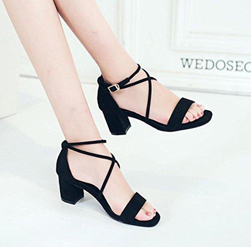 c20591d3 sandalias abiertas con tacones altos sandalias de la hebilla gruesa cruz de  verano Black