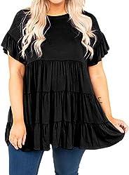 Rainlin Women Casual Plus Size Summer Tops Ruffle Short Sleeve Tunic Shirt Round Neck Tiered Pleated Mini Dres