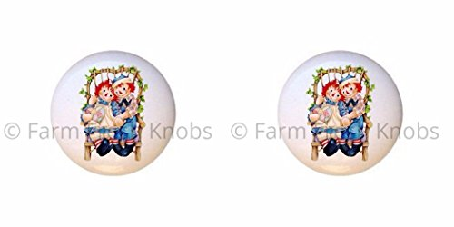 SET OF 2 KNOBS - Wicker Chair - Raggedy Ann and Andy - DECORATIVE Glossy CERAMIC Cupboard Cabinet PULLS Dresser Drawer KNOBS -