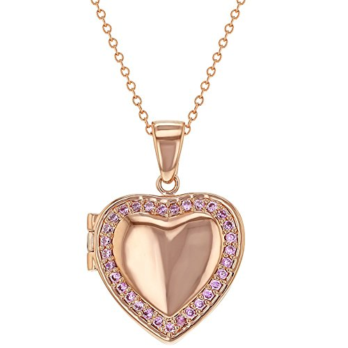 In Season Jewelry Rose Gold Plated Pink CZ Heart Shaped Locket Necklace Pendant for Girls 18""