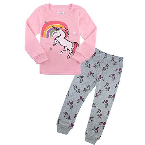(Pajamas for Girls Toddler PJs Set Cotton Clothes Kids Pink Unicorn Sleepwear 5T)