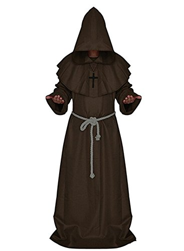 Medieval Times Costumes (VERNASSA Medieval Monk Robe Priest Robe Halloween Cosplay Costume)