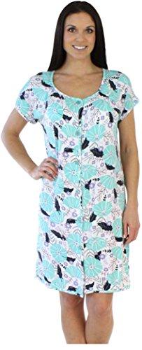 bSoft Women's Sleepwear Bamboo Jersey Button Up Short Sleeve Sleepshirt, Spring Floral (BSBJ1815-1055-S/M) -