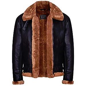 Infinity Leather Peau de Mouton en B3 Marron pour Homme WW 2 Bombardier de Aviateur en Cuir