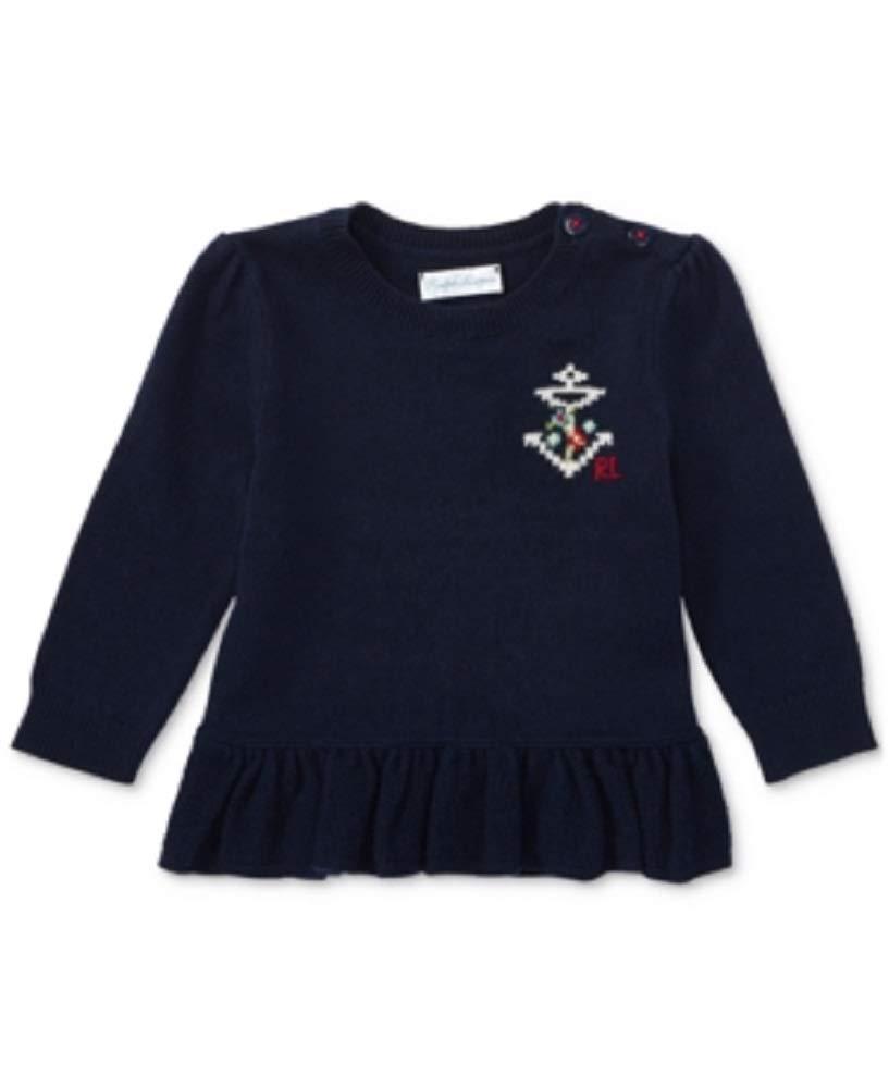 Ralph Lauren Peplum Sweater, Baby Girls - Hunter Navy 3 Months by Ralph Lauren