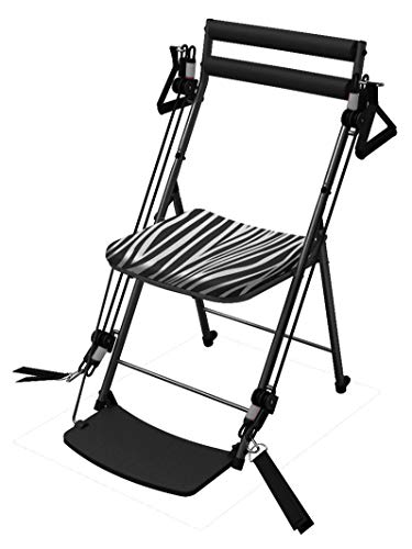 Chair Gym - The Total Body Workout - All in One Compact, Portable and Easy to Use at Home Exercise System Includes 5 Instructional DVDs + Bonus Twister Seat Ab Attachment As Seen on TV - Zebra