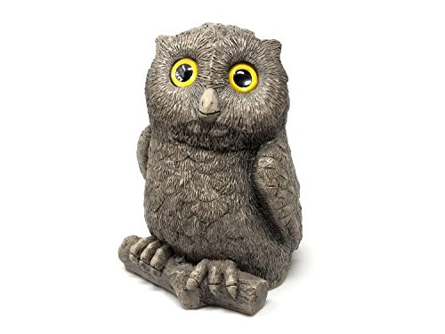 Bigelow Studios Owl Garden Decor - Outdoor Sculpture, Statue, Yard Decoration, Lawn Ornament, Accessories and Garden Gift For Flower Pots, Planters And Around The House (Orenthal, Grey Stone)