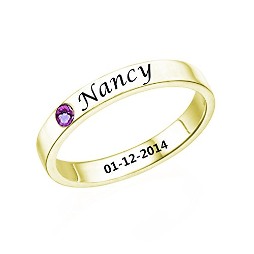 Ouslier Ouslier 925 Sterling Silver Personalized Birthstone Promise Ring with Name Custom Made with Name & Date (Golden) price tips cheap