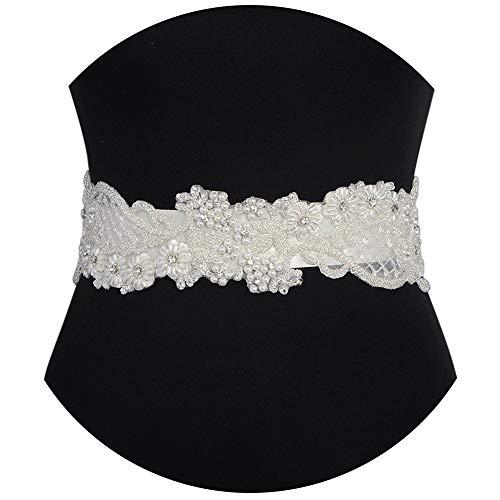 Azaleas Women's Flower Pearls Wedding Sash Belts Bridal Belt Sash for Wedding Ivory