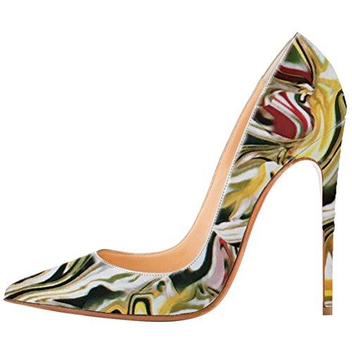 Arc-en-Ciel zapatos de las mujeres de múltiples bombas de tacón alto de color en punta de charol Multicolor
