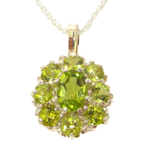 Ladies Solid 925 Sterling Silver Natural Peridot Large Cluster Pendant Necklace