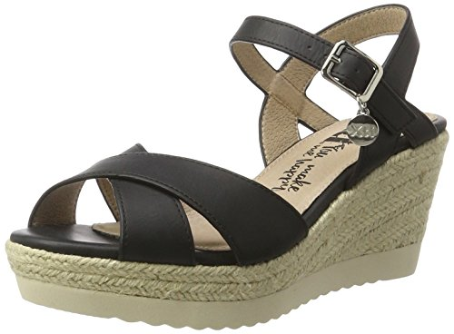XTI Black Pu Ladies Sandals . - Plataforma Mujer Schwarz (Black)