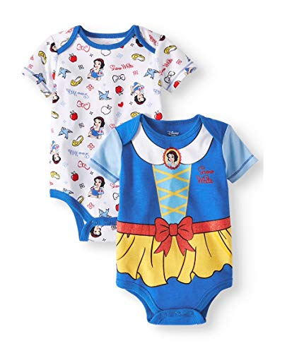 Disney Princess Snow White Bodysuit 2-Pack,Blue, White, Yellow,6/9 Months
