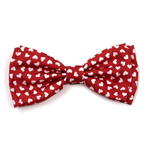 The Worthy Dog Red and White Hearts Pattern Bow Tie for Pets Red, SM