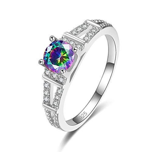 Veunora 925 Sterling Silver Plated Lab-Created Rainbow Topaz Promise Proposal Engagement Wedding Rings for Women Girl Size 7