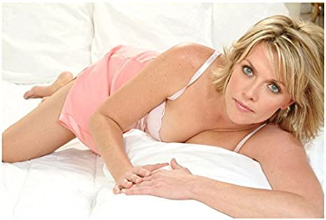Amanda Tapping  Photo So Sexy In White Pink On Bed Pose 3