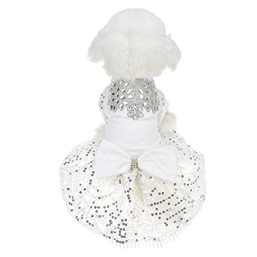FLAdorepet Sparkling Rhinestone Dog Wedding Party Dress Tutu Skirt Luxury Lace Bow Dress Bride Costume for Small Dog Pet Apparel (M, White)]()