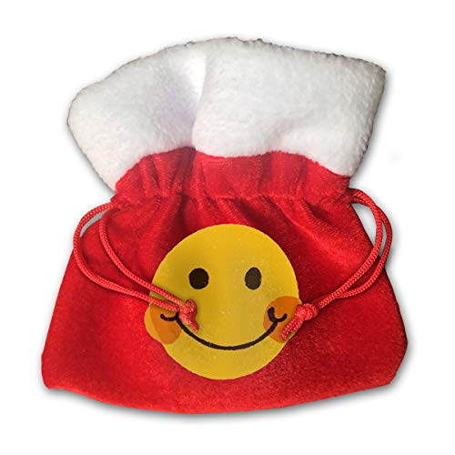 HYEECR Smiling Face Christmas Bags Santa Present Sack Drawstring Bag for Holiday Wrapping