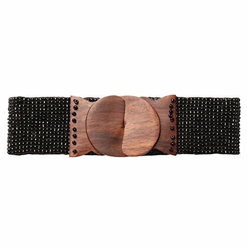 Women's Extended-Size Beaded Stretch Belt - Black - Large/Xl (International Dress Up Ideas)