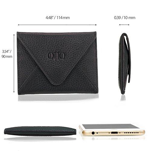 OTTO Echtes Leder Kreditkartenhalter und Reisebrieftasche Hülle mit Magnetischem Verschluss - Kreditkartenhalter mit mehreren Schlitzen für Geld, Ausweis, Tickets - RFID Schutz (Hellbraun) Schwarz