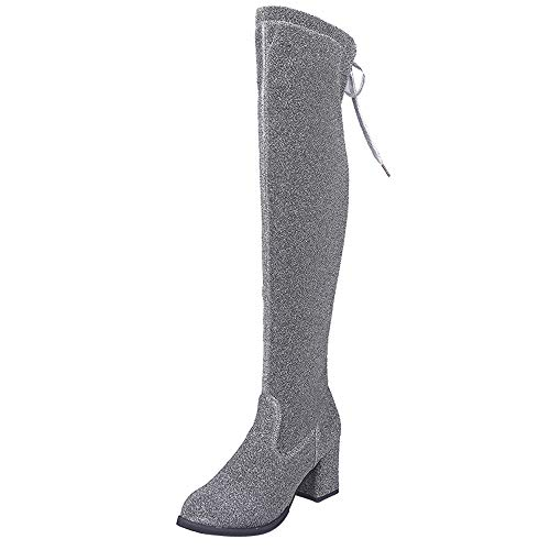 Realdo Clearance Sale Women Lace-Up Solid Round Toe Over The Knee Boots High Heel Bootie Shoes(US 6.5,Silver)