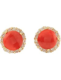 3.65 Carat Natural Red Coral and Diamond (F-G Color, VS1-VS2 Clarity) 14K Yellow Gold Stud Earrings for Women Exclusively Handcrafted in USA