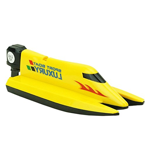 E-SCENERY RC 2.4G 4CH High Speed F1 Powerboat, Remote Control Simulation Racing Boat Toy with Water Cooling System (Yellow)