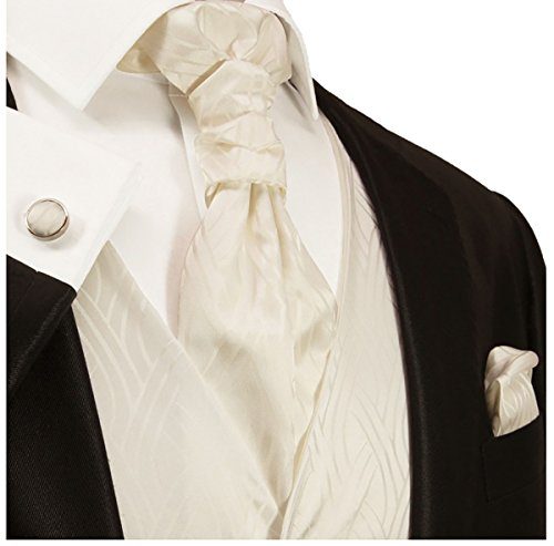 Paul Malone Wedding Vest Set Ivory 5pcs Tuxedo Vest + Necktie + Ascot + Hanky + 2 Cufflinks XXL