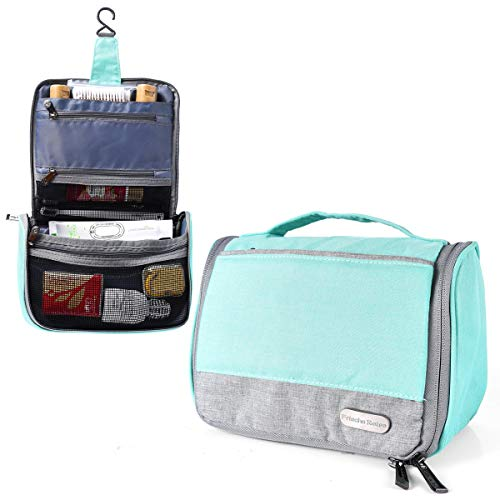 Toiletry Bag, Compact Waterproof Cosmetic and Toiletry Organizer with Sturdy Hanging Hook Blue