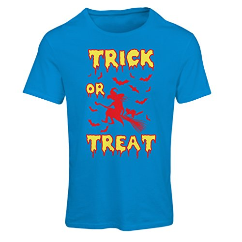 (lepni.me T Shirts for Women Trick or Treat - Halloween Witch - Party outfites - Scary Costume (Small Blue Multi)