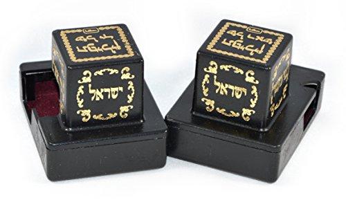 Decorative Tefillin Boxes Black Plastic - Set of Two - Tefillin Set