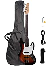 Waful Electric Bass Guitar, Starters Acoustic Bass Guitar Beginner Kit Full Size 4 String with Power Line, Wrench Tool for Starter Gift Right Hand Type-A Blue photo