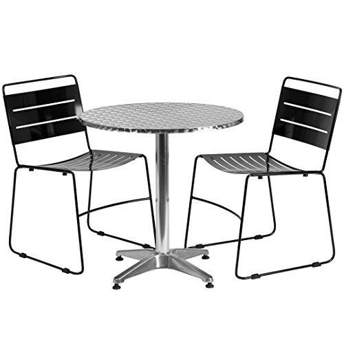 MFO 27.5'' Round Aluminum Indoor-Outdoor Table with 2 Black Metal Stack Chairs