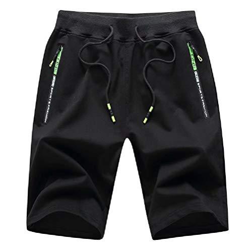 Tansozer Men's Casual Shorts Elastic Waist Comfy Workout Shorts Drawstring Summer Jogger Shorts with Zipper Pockets (Black, Large)