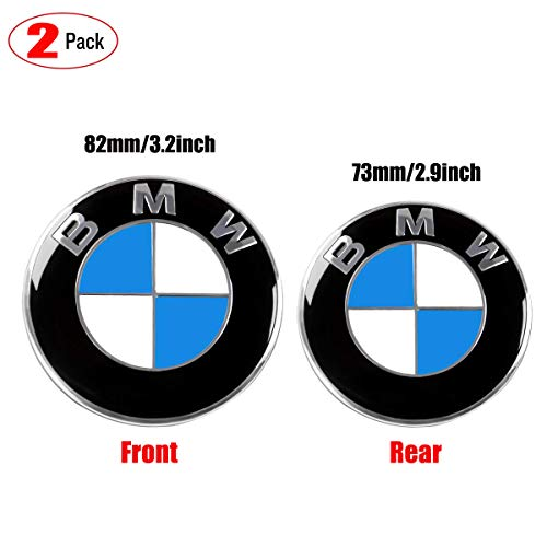 Emblems Rear Roundel - 2pcs Emblem for BMW-Hood roundel emblem logo replacement hood Front 82mm and Rear 73mm BMW Emblem Badge Blue & White