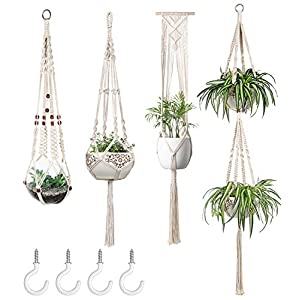 Mkono Macrame Plant Hangers Set of 4 Indoor Wall Hanging Planter Basket Decorative Flower Pot Holder with 4 Hooks for…