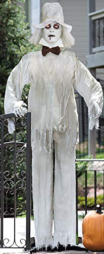 Lifesize Haunting Bewitching Standing Ghost Man Groom with Flashing Red Eyes Spooky Scary Halloween Prop Decor