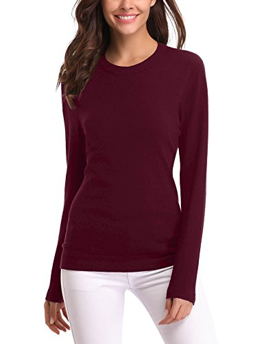 Abollria Women's Long Sleeve Soft Round Neck Slim Fit Knit Sweater Pullover Top (Round Neck Knit Sweater)
