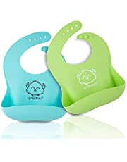 Silicone Baby Bibs - Waterproof, Easy Wipe Silicone Bib for Babies, Toddlers