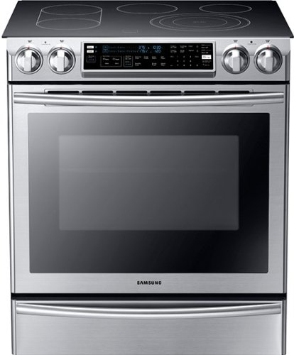 Samsung NE58F9710WS Slide-in Electric Range with FlexDuo (Self Cleaning Warming Drawer Range)