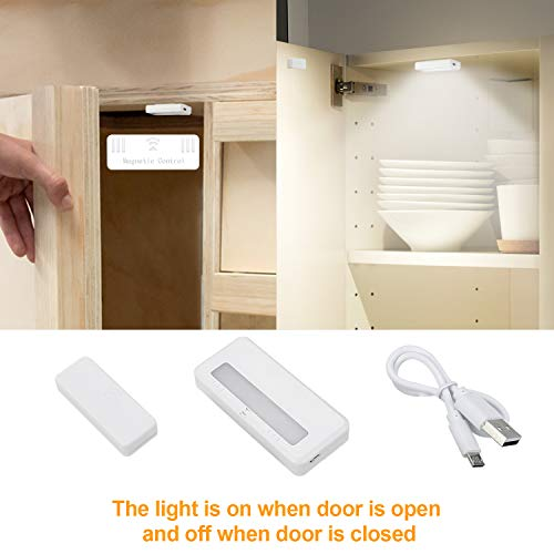 (AMANEER Rechargeable Portable Motion Sensor Light Magnetic Removable Puck Lights Small LED Flashlight Mini Night Lights for Wardrobe Counter Closet Storage Boxes Bedside Table Drawer Lighting 2 Pack)
