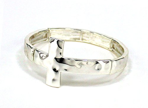 Sideways Silver Tone Cross Stretch Bracelet