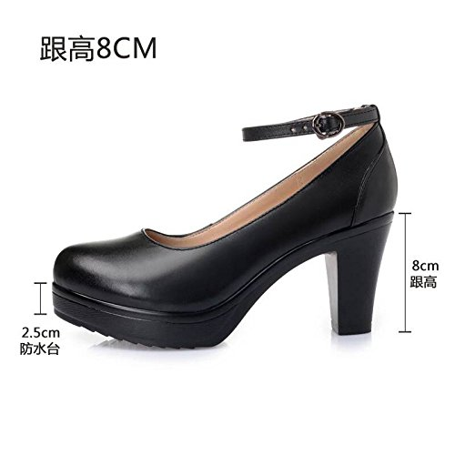 con spessore Cuoio i alta 37 con tacchi 8cm nero solo impermeabile T scanalata calzature modello di Taiwan cinghia con di calzature dello testa rotonda scarpe donna alti bianco wXYnrPFXxq